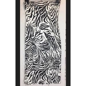 Zebra Print Cotton Stretch Strapless Dress - Small